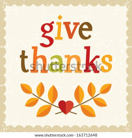 Fun Thanksgiving card design in vintage colors with text greeting and cute retro frame. - stock vector