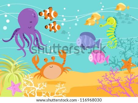 Fun Underwater Scene Stock Vector 115327894