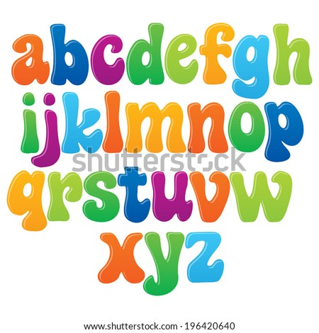 Fun vector font for kids - 2 Lower case letters - stock vector