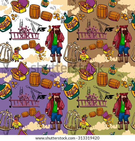 Fun vector patterns. Cartoon pirate. On solid frame and three background for example - stock vector