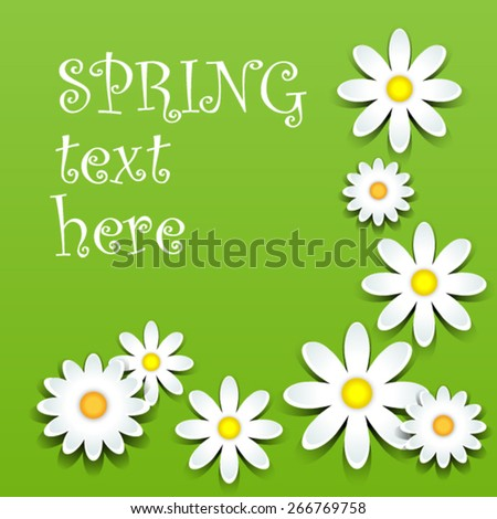 Fun white daisies with shadows over green, spring theme - stock vector