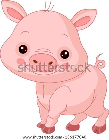 Fun zoo. Illustration of cute Pig - stock vector