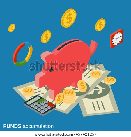 Funds accumulation, bank deposit flat isometric vector concept illustration