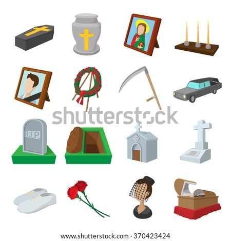 Funeral and burial cartoon icons set isolated on white background - stock vector