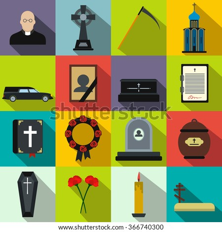 Funeral and burial flat icons set for web and mobile devices - stock vector