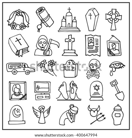 Funeral ,burial icons doodle set. Vector hand drawn symbol for web,print,art.Vintage mortuary elements,symbol. Vector funeral and burial sign,illustration,Funeral ,burial icons  black outline - stock vector