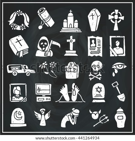 Funeral ,burial icons doodle set. Vector hand drawn symbol for web,print,art.Vintage mortuary elements,symbol.Chalkboard - stock vector