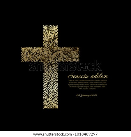 Funeral Card Template Golden Cross Made Stock-Vektorgrafik ...