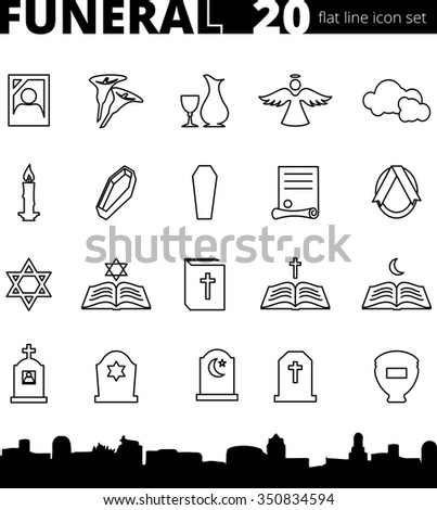 Funeral cemetery vector icon set thin line icons flat style  - stock vector
