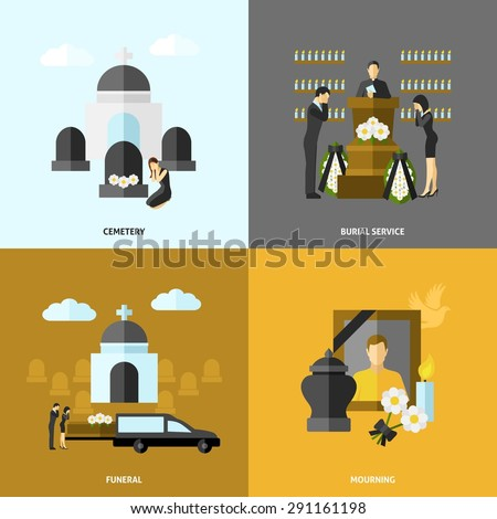 Funeral design concept set with cemetery and mourning flat icons isolated vector illustration - stock vector