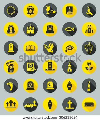 Funeral Icon Set. - stock vector