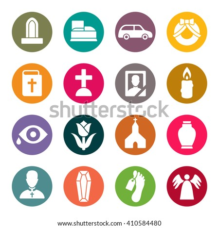 Funeral icon set - stock vector