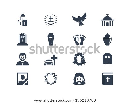 Funeral icons - stock vector