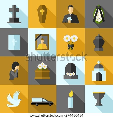 Funeral icons flat long shadow set with ash candle church isolated vector illustration - stock vector