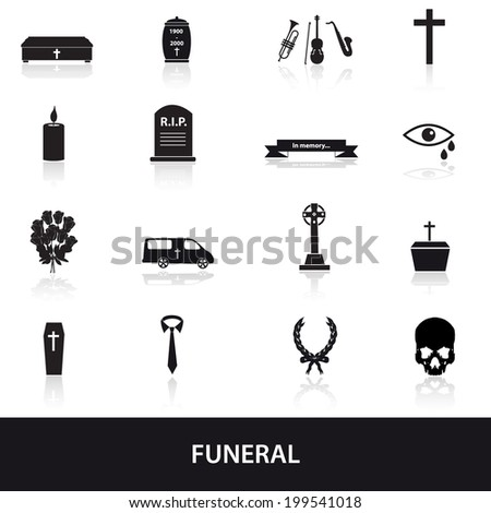 funeral icons set eps10 - stock vector