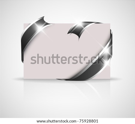 funeral notice  -  black and white card with black ribbon - stock vector