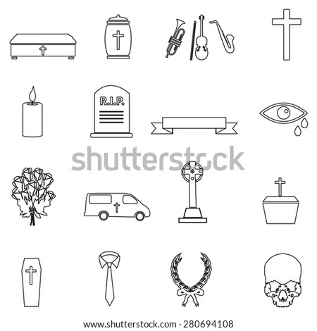 funeral simple black outline icons set eps10 - stock vector