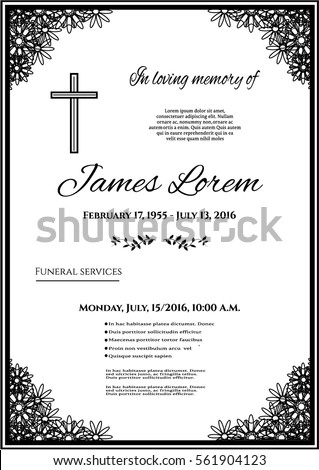 Funeral Template Card With Simple Line Cross And Many Black Flowers, Place  For Text  Line Card Template
