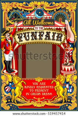 Circus tent artist show Retro Frame Cartoon Poster Invite Kid game Birthday Party Amusement Park. Carnival festival Background Masquerade Acrobat Cabaret Vintage Vector Illustration Crazy People theme