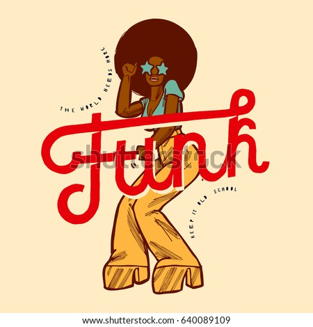 Funk Girl Dancing Vintage Style Poster With Big Red Funk Word