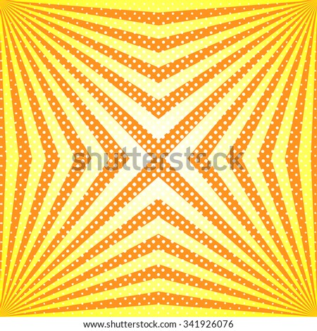 Funky And Stylish Vector Sunburst Background With Dots. Yellow And Orange  Sun Rays Trendy Wallpaper