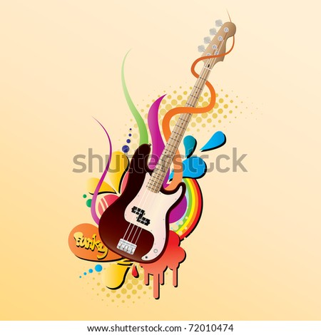 funky bass guitar vector - stock vector