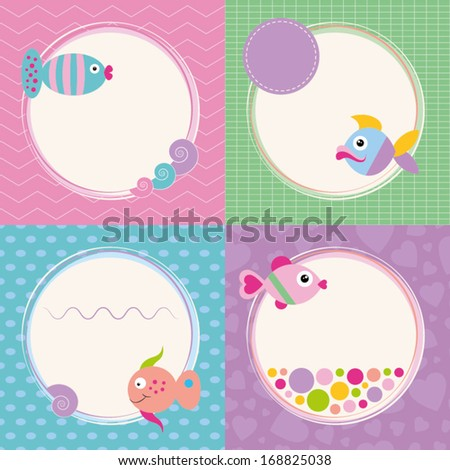 funky cartoon fish greeting cards collection