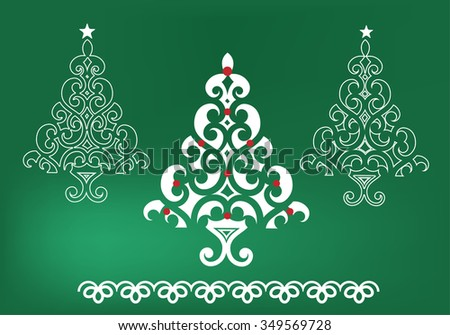 Funky christmas trees  - stock vector
