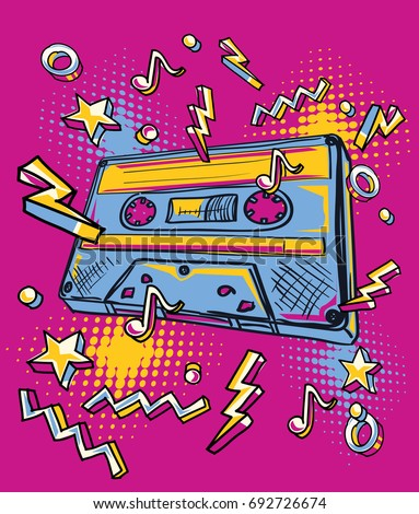 Funky stock images royalty free images vectors shutterstock funky colorful drawn audio cassette voltagebd Images