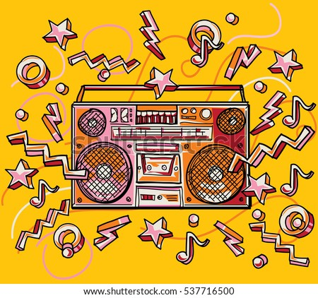 Funky colorful drawn boombox