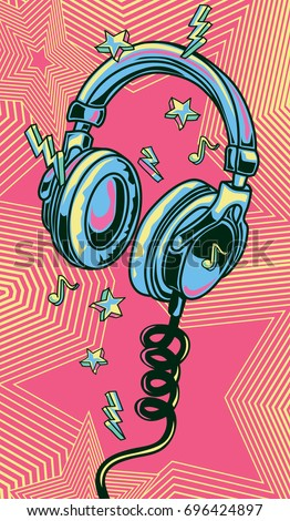 Funky stock images royalty free images vectors shutterstock funky colorful drawn musical headphones voltagebd Images