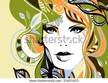 Funky fashion vector portrait - stock vector