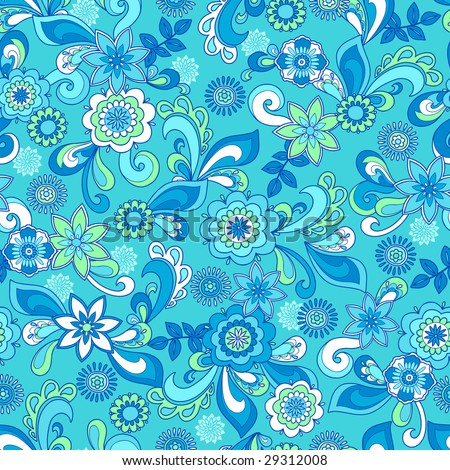 Funky Flowers Seamless Repeat Pattern Vector Illustration - stock vector