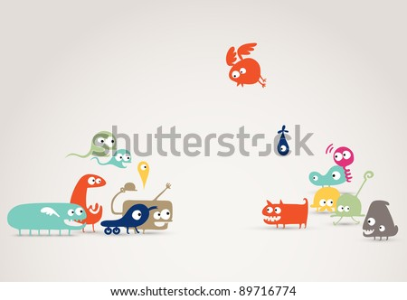 funky friends meeting - abstract creatures illustration, social network, family concept, event - stock vector