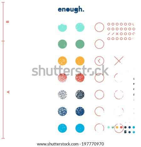 Funky graphic design background - geometrical shapes and dirt - stock vector