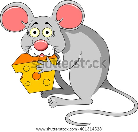 Funky gray mouse with a big piece of cheese, vector - stock vector