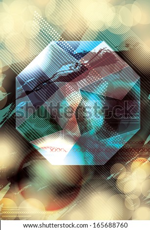 Funky grunge abstract design with geometric shape - stock vector