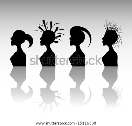 Funky Hairstyle Set 3. - stock vector