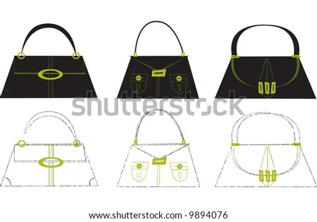 Funky handbags. Includes illustration with clean edge and one in a sketched style. - stock vector