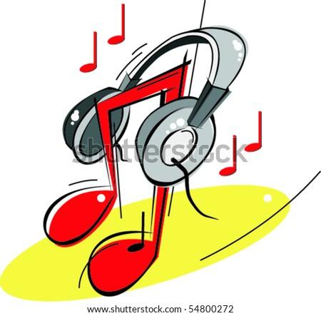 Funky headphones - stock vector