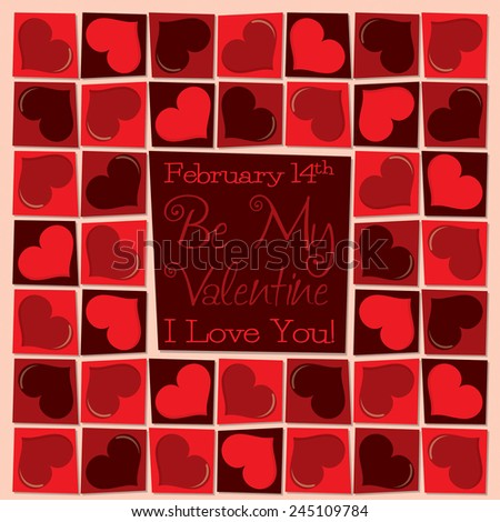 Funky mosaic love heart Valentine's Day card in vector format. - stock vector