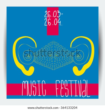 Funky music festival flayer, invitation, poster template in bright pop art colors - stock vector