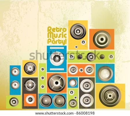 funky music speaker vector background design - stock vector