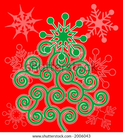 funky spiral christmas tree - stock vector