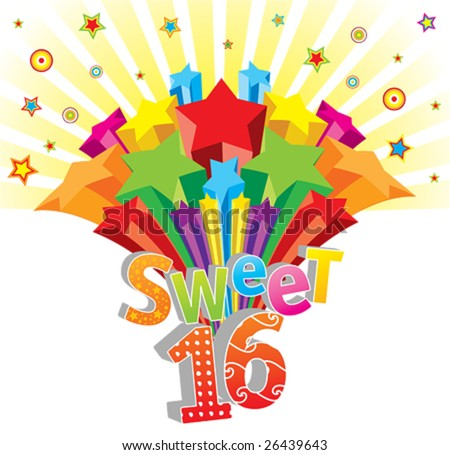 Funky vector Sweet 16 postcard - stock vector
