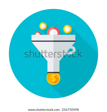 Funnel flat circle icon. Flat stylized circle icon with long shadow - stock vector