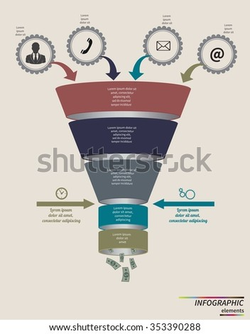Funnel flow chart. Infographic template . Design for presentation, round chart or diagram. Concept for 5 steps, parts or options. Vector EPS10. - stock vector