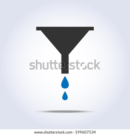 funnel icon in vector with drops of water - stock vector
