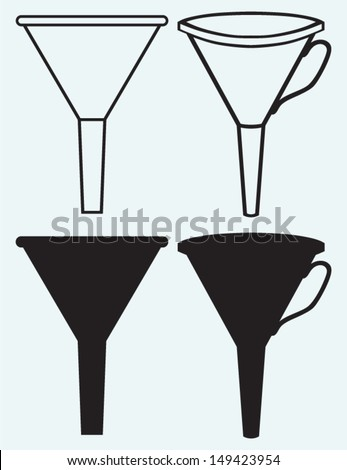 Funnel made isolated on blue background - stock vector