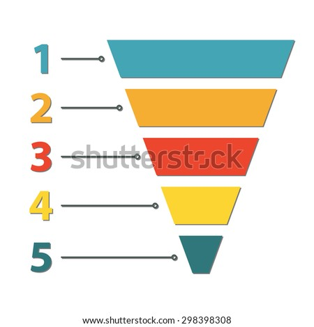 Funnel symbol. Infographic or web design element. Template for marketing, conversion or sales. Colorful vector illustration. - stock vector